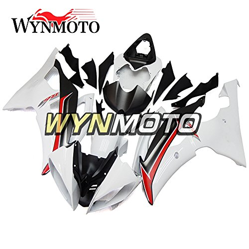 Black Abs Injection (WYNMOTO ABS Injection White Black Red Stripe Complete Motorcycle Fairings For Yamaha YZF R6 2008 2009 2010 2011 2012 2013 2014 2015 2016 Cowlings)