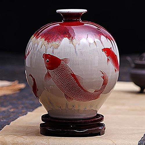 (Vase Pomegranate Bottle Red Gold carp Pattern Crack Glaze Opening Modern Flower Arrangement Porcelain Vase Vase with Flowers Home Decor Oriental Furniture Home Decoration Art Collection)