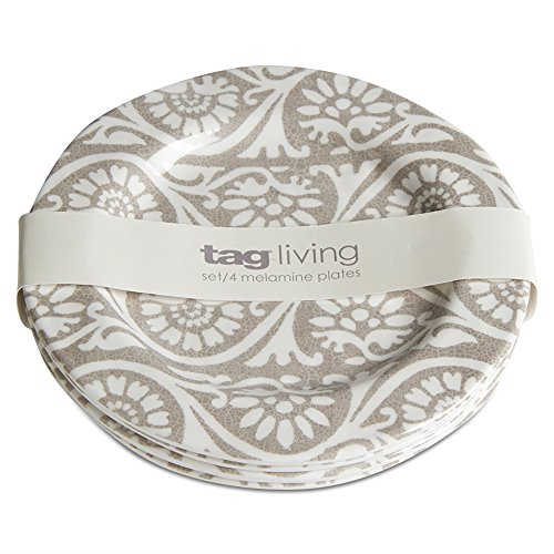 tag - Artisan Melamine Appetizer Plate, Durable, BPA-Free and Great for Outdoor or Casual Meals, Taupe (Set of -