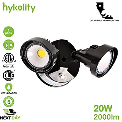 Hykolity 20W Dusk to Dawn LED Security Light Photocell Outdoor Floodlight [150W Equivalent] 2000lm 5000K IP65 Waterproof Adjustable Dual Head ETL Listed