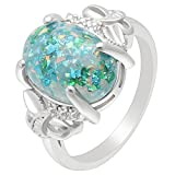 Ginger Lyne Collection Sharla Oval Shape Lab Created Fire Green Opal Ring