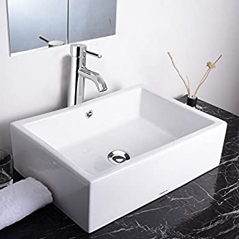 Koval Inc. Bathroom Rectangle Shape Porcelain Sink Overflow with ...