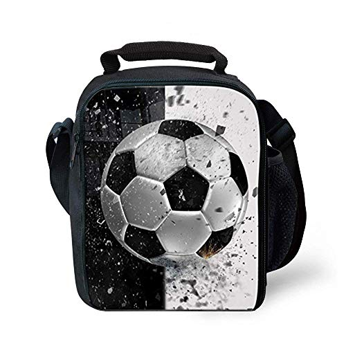 Lunch Tote, 2019 Upgrade Insulated Football Lunch Bag- Waterproof Reusable Lunch Box Portable Meal Bag Ice Pack for Kids Boys Girls -Black