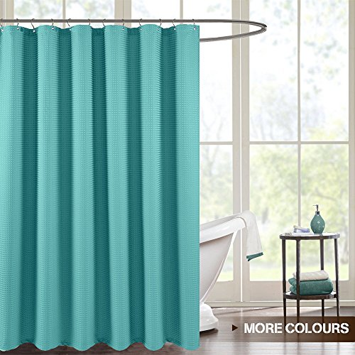 Shower Curtain for Bathroom Waterproof Waffle Weave Fabric Shower Curtain in Bath Rust-resistant Metal Grommets Top (70-Inch by 72-Inch, Turquoise)