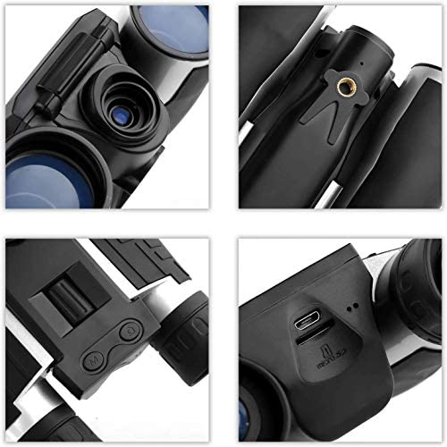 Binoculars Camera,FS608 720P Digital Camera Binoculars Camera with 2 LCD Display 12×32 Folding Prism Digital Binoculars with Camera Video Great for Bird Watching Concerts and Sports Games