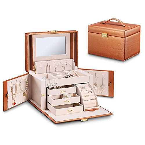 Vlando Faux Leather Jewelry Box Organizer Necklace Ring Display Vintage Gift Case (Champagne) (Box Leather Display Gift)