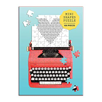 Galison Shaped Mini Jigsaw Puzzle, Just My Type Vintage Typewriter, 100-Pieces – Shaped Puzzle Featuring a Colorful Design of a Vintage Typewriter, Thick and Sturdy Pieces, Perfect for Family Fun: Toys & Games