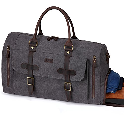 Carry On Baggage (Large Duffel Bag,Vaschy Leather Canvas Duffle Tote with Shoe Compartment 46L Large Weekend Carry-on Holdall Baggage Sports Travel Bag Gray)