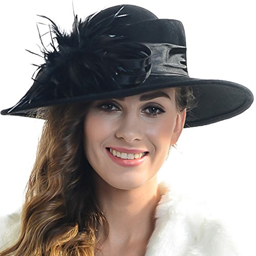 FORBUSITE Women Wool Felt Plume Church Dress Winter Hat