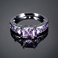 wanmanee Gift Vintage Jewelry Black Gold Filled Ring Amethyst Sapphire Crystal (7)