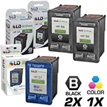 LD Remanufactured Ink Cartridge Replacements for HP C6656AN (HP 56) Black and HP C6657AN (HP 57) Color (2 Black and 1 Color)