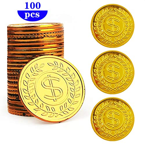 HuiYouHui Pirate Gold Coins Plastic Set of 100,Play Gold Treasure Coins for Play Favor Party Supplies, Pirate Party, Treasure Hunt Game and Party Favors (Fake Roman Coins)
