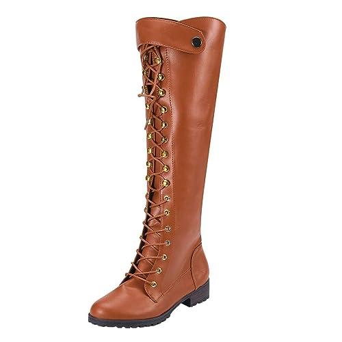 2a9027b2 Botas de Tubo Altas hasta la Rodilla para Mujer Zapatos con Cordones Botas  de Moto Gladiador: Amazon.es: Zapatos y complementos