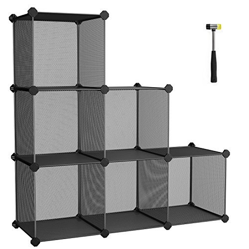 SONGMICS Storage Cubes, High-density Metal Grid, Interlocking Shelving Organizer Unit with High Load Capacity for Bookcase, DIY Closet Cabinet with Rubber Mallet, Black ULPL111H