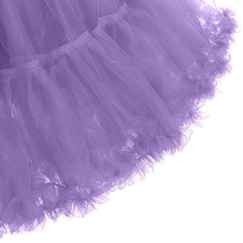 IVNIS RS90010 Women's Petticoat Tutu Skirt 2 Layered Ballet Dance Pettiskirt Mini Skirt Lavender S by IVNIS (Image #6)