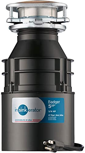 InSinkErator Garbage Disposal with Cord, Badger 5XP, 3 4 HP Continuous Feed