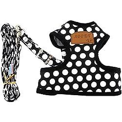 SMALLLEE_LUCKY_STORE New Soft Mesh Nylon Vest Small Medium Dog Harness Leash Set, Black, Large