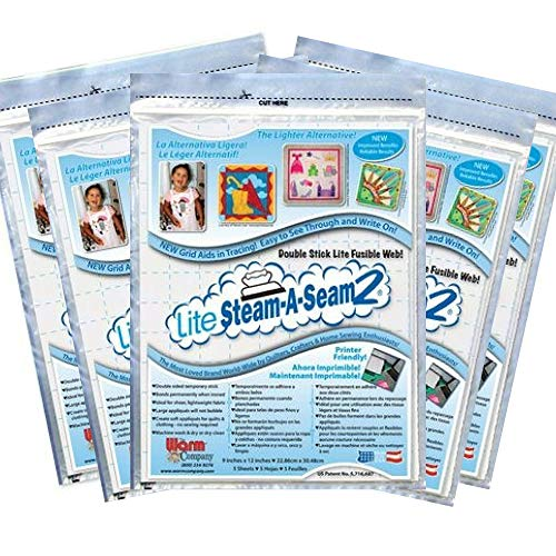 - 5 Pkgs Lite Steam-a-Seam 2, Double Stick Fusible Web, by the Warm Company