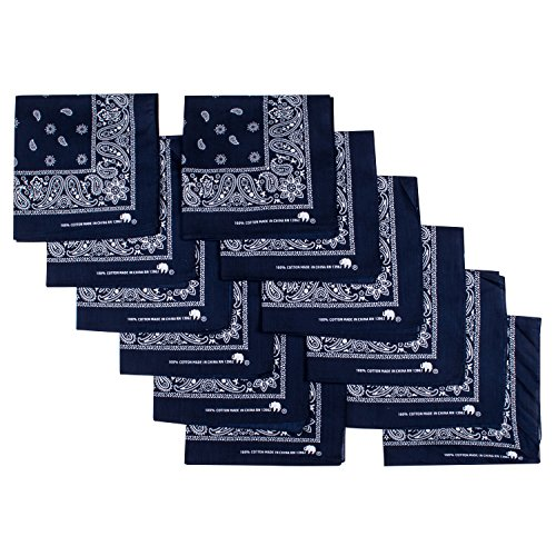 - Elephant Brand Bandanas 100% cotton since 1898-12 Pack (Navy)