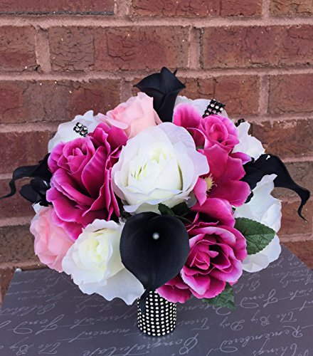Wedding Bouquet - Fuchsia Ivory Pink Rose Black Calla Lily Bouquet