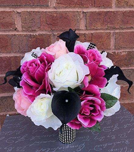 Wedding Bouquet - Fuchsia Ivory Pink Rose Black Calla Lily Bouquet
