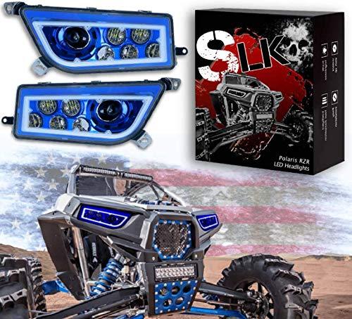 ( SLK-Customs RZR Blue LED Headlight Blue HALO compatible with Polaris General, Polaris RZR 900s, Polaris razor 1000 XP Turbo (Fits: 2015-2019) (Blue))