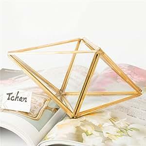 Tchan hecho a mano cristal carnosas maceta paralelogramo forma cobre y cristal flores casa geométrico maceta suculentas Micro paisaje florero de escritorio de almacenamiento de joyería (dorado)