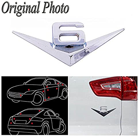 CHAMPLED Car/Motorcycle V6 Side Silver 3D Metal Decal Sticker Wolf Head Logo Badge Emblem For FORD CHRYSLER CHEVY CHEVROLET DODGE CADILLAC JEEP GMC PONTIAC HUMMER LINCOLN - Chevrolet Avalanche 1500 Front Bumper