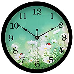 hito Silent Floral Wall Clock Non Ticking 10 inch Excellent Accurate Sweep Movement Glass Cover, Decorative for Kitchen, Living Room, Bathroom, Bedroom, Office (fl2 Black)
