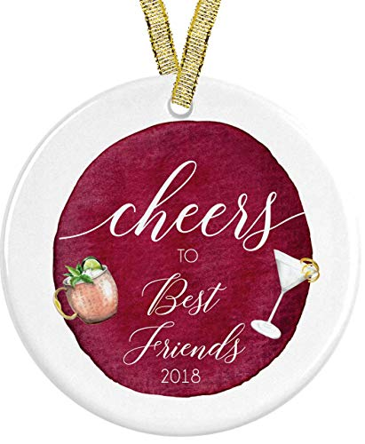 Cheer to Best Friends Cocktail Ceramic Round Ornament Present Idea for BFF Bestie, 3