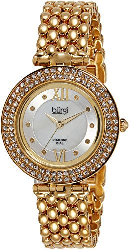Burgi Women's BUR126YG Diamond & Crystal Accented Mother-of-Pearl Swiss Quartz Yellow Gold Bracelet Watch