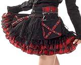Lolita Charm Women's Punk Lolita Nana Skirt-One Size-Black and Red