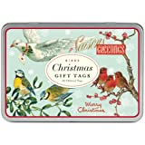 Cavallini Christmas Birds Glitter 36 Assorted Gift Tags