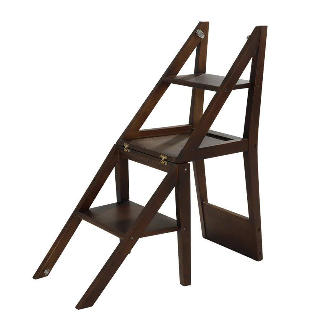 T-Z Stilvolle Einfachheit Treppe Treppe Dreistöckige Dualuse Klappstuhl Treppenstuhl Küche Schlafzimmer Interieur Einfache Leiter Holzfarbe Trittleiter