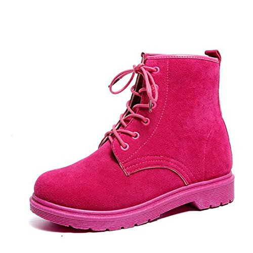 Women's Casual Heel ZHZNVX Low Calf Round Mid Boots Boots Ribbon Fall Toe Boots Fuchsia leather Comfort Combat Nubuck Winter Shoes Tie Walking For HSXZ Shoes 5qrwxq6g4