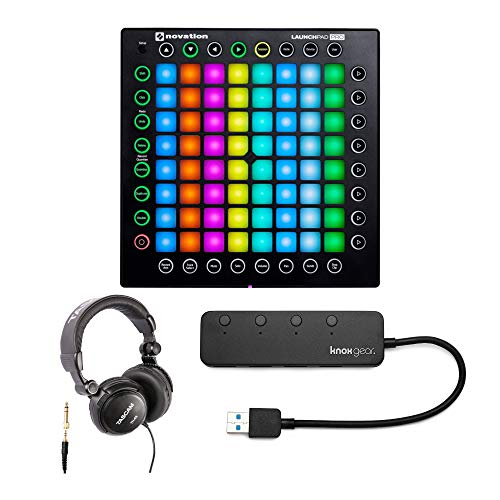 Novation Launchpad Pro USB MIDI Ableton Live Controller with Headphones and Knox Gear 3.0 4 Port USB Hub from Novation