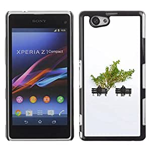 Be Good Phone Accessory // Dura Cáscara cubierta Protectora Caso Carcasa Funda de Protección para Sony Xperia Z1 Compact D5503 // Minimalist Tree Love Couple