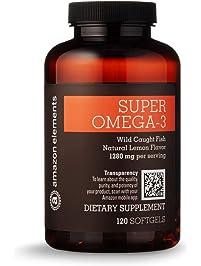 Amazon Elements Super Omega-3, Natural Lemon Flavor, 1280 mg per Serving (2 Softgels), 120 Softgels