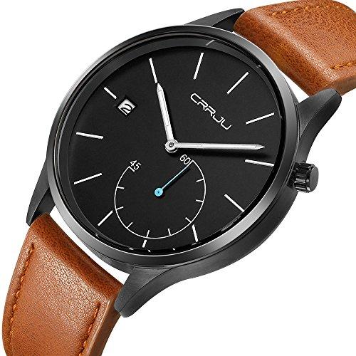 CRRJUTop Brand Luxury Sports Casual Quartz Wrist Watch for Men Gift Leather Wristwatch