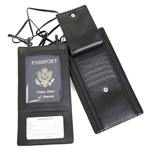 (Royce Leather Hanging Security Passport Wallet,Black,One Size )