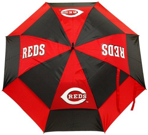 "Team Golf MLB Cincinnati Reds 62"" Golf Umbrella with Protective Sheath, Double Canopy Wind Protection Design, Auto Open Button"