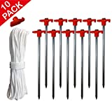 ABCCANOPY Outdoor Tent Stakes 10pcs Galvanized Non-rust 10...