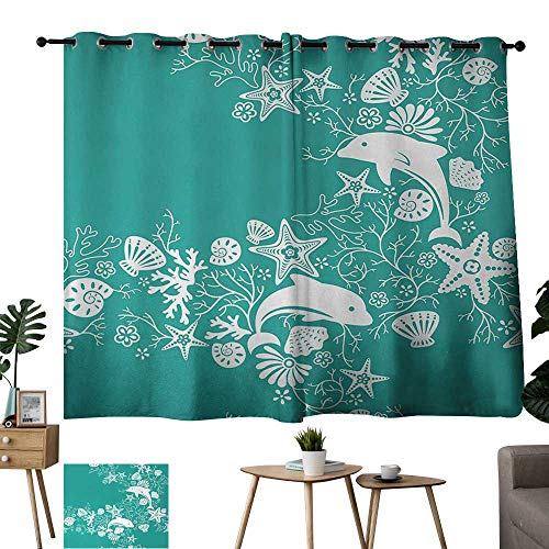 Burgundy Curtains Sea Animals,Dolphins Flowers Sea Life Floral Pattern Starfish Coral Seashell Wallpaper,Sea Green White 54