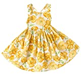 YoMarket Little Girl Dress,Sleeveless Cotton Casual Summer Clothes Floral Sundress Straps Beach Skirt Suit for 1-10 Years Old Girls (Yellow-03, 3T)