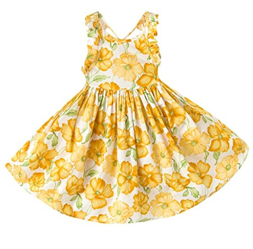 Tonwod Little Girl Dress,Sleeveless Cotton Casual Summer Clothes Floral Sundress Straps Beach Skirt Suit for 1-10 Years Old Girls(4T,Yellow-03)