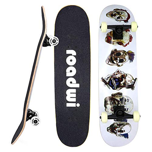 roadwi Tricks Skate Board |31 Inch Complete Skateboard|7 Layer Canadian Maple Wood Double Kick Concave Skateboards for Beginners and Adults