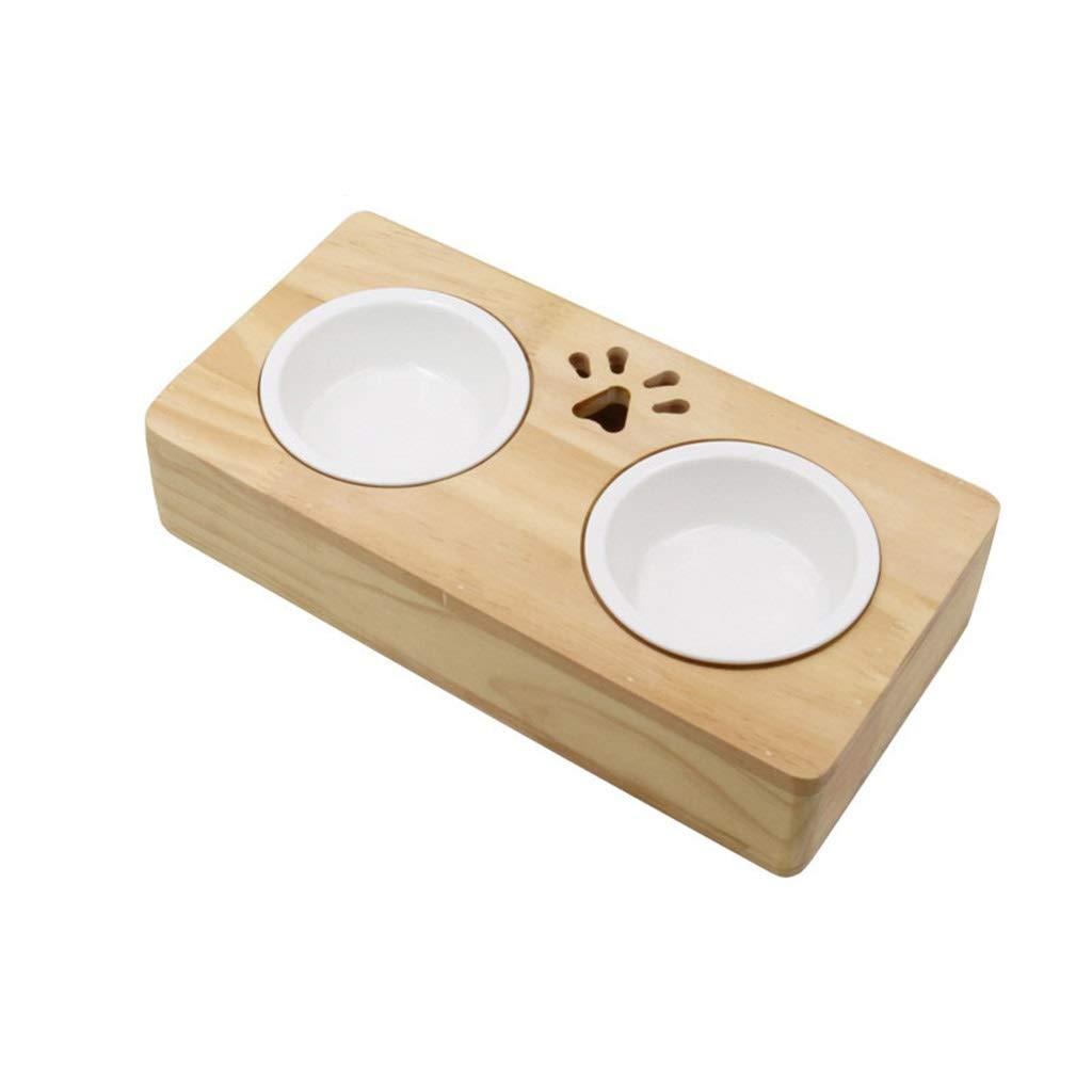 DSADDSD Cat Dog Ceramics Pet Double Bowl Solid Wood Dish Rack Dining Table Durable Pet Supplies