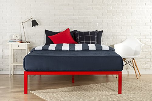 Zinus Mia Modern Studio 14 Inch Platform 1500 Metal Bed Frame / Mattress Foundation / No Box Spring Needed / Wooden Slat Support / Good Design Award Winner / Red, Twin