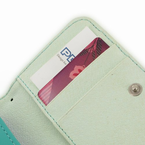 Apple iPhone 5s Leather Wallet Case / Cover (Handmade Genuine Leather) (Aqua) by Pdair