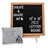 Message Board; Changeable Felt Letter Board; Wooden Black Felt Oak Frame 10x10 & 364 PreCut Letters with Stand; Perfect Gift for Home Decor, Toddlers, Business, Bulletin Sign & Baby Announcement Board